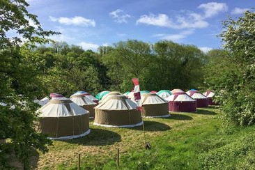 Hearthworks Jurte auf dem Wychwood-Campingplatz