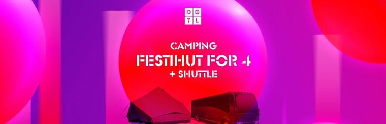 DGTL Camping pakket - Festihut voor 4 personen + Shuttlebus