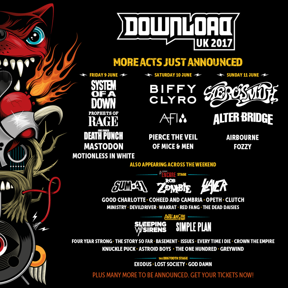Populaire Mastodon, Airbourne & Opeth added to Download Festival 2017  MU58
