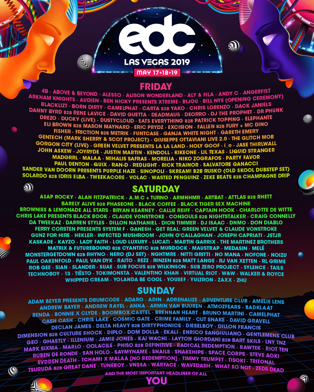 EDC Las Vegas' 2019 Lineup Is Finally Here